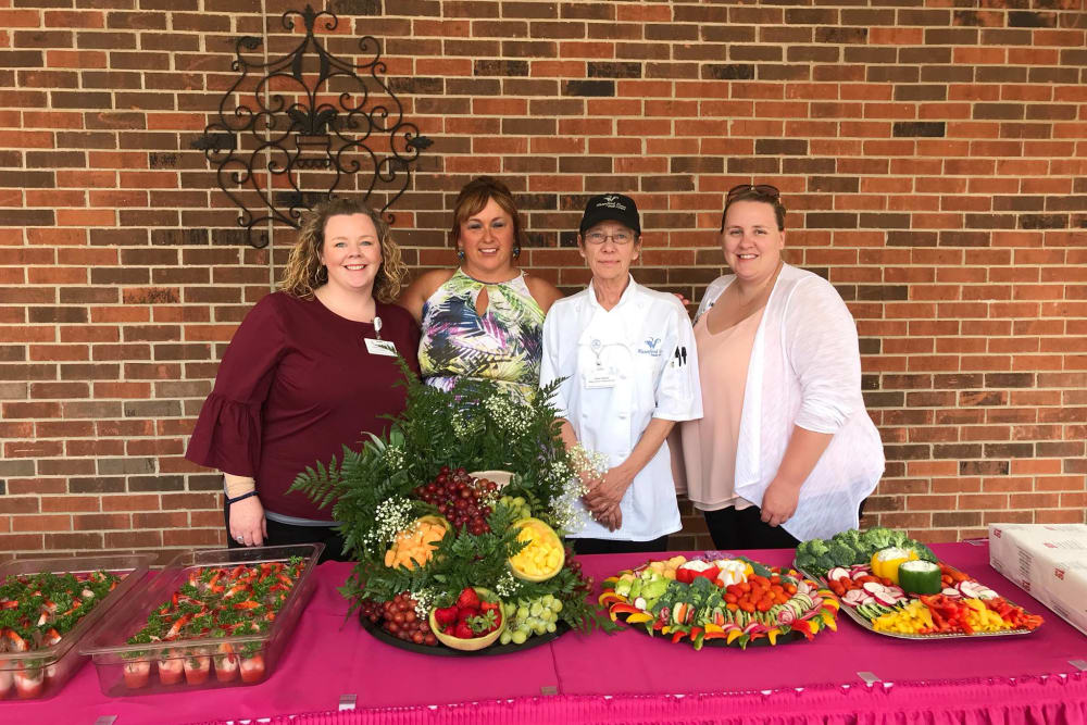 Chefs laying out a meal for residents at Waterford Place Health Campus in Kokomo, Indiana