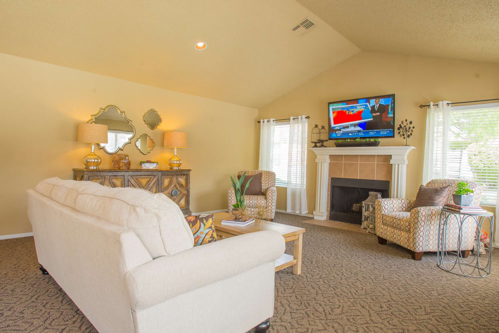 Clubhouse with high ceilings at Cimarron Trails Apartments in Norman, Oklahoma