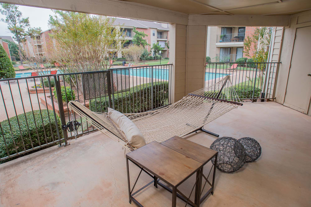 Private outdoor patio at Copperfield Apartments in Oklahoma City, Oklahoma