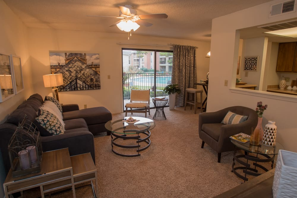 Living room at Copperfield Apartments in Oklahoma City, Oklahoma
