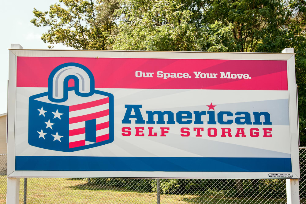 Welcome banner at American Self Storage in Lakehurst, New Jersey