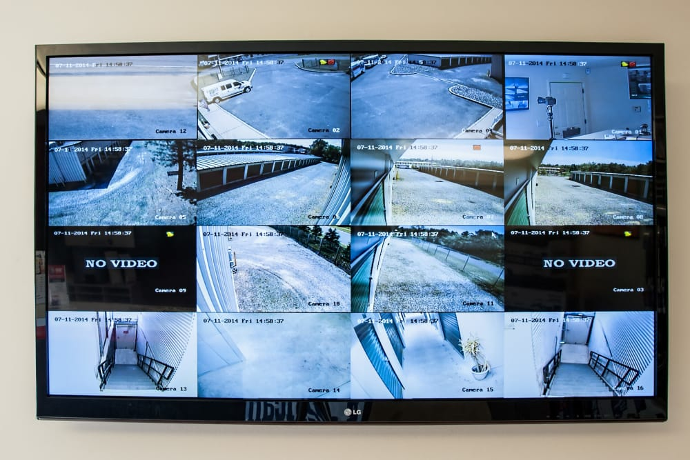 Security monitor at American Self Storage in Lakehurst, New Jersey