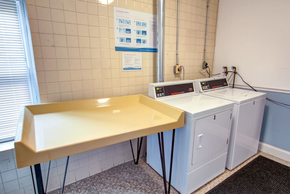 Laundry facility at Bulldog Apartments in New Haven, Connecticut