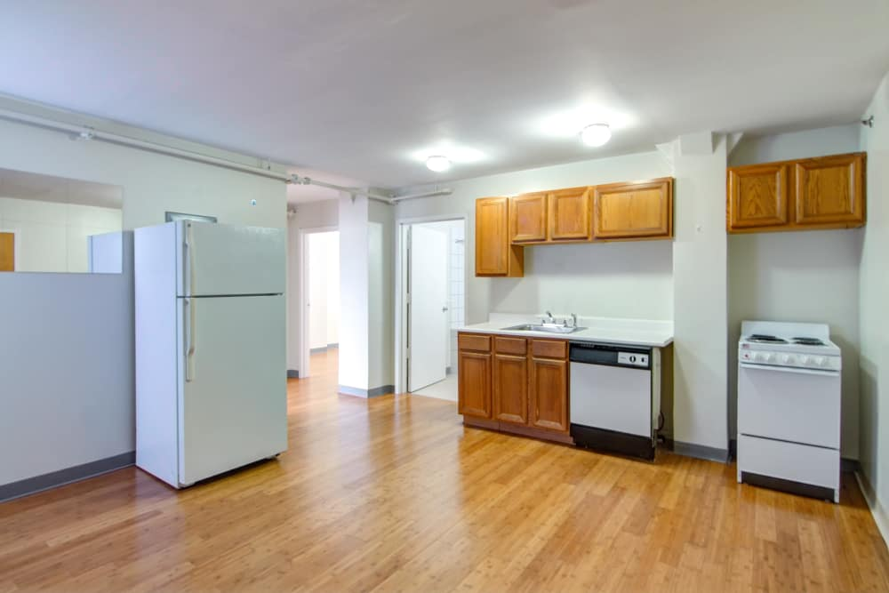 Kitchen at Bulldog Apartments in New Haven, Connecticut