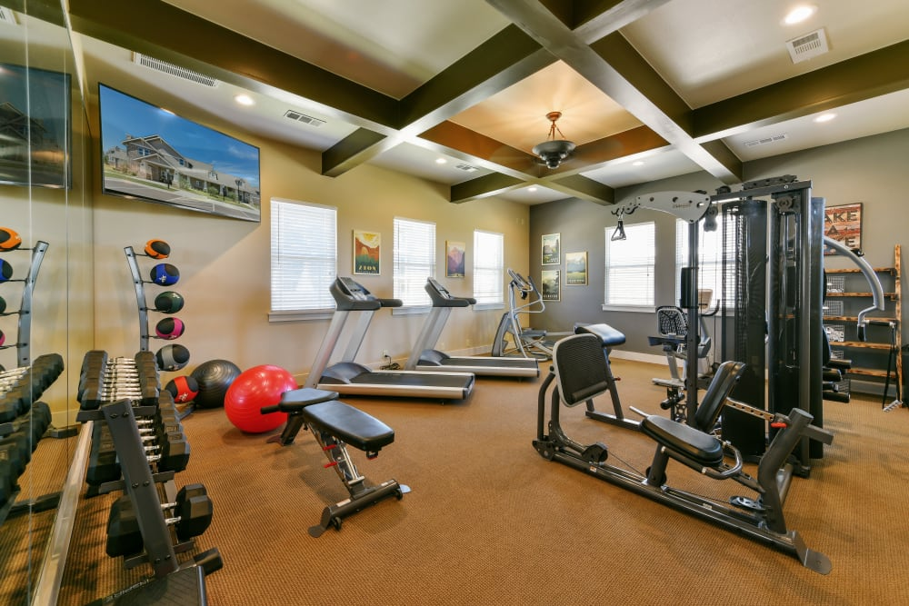 State-of-the-art fitness center at Cottages at Abbey Glen Apartments in Lubbock, Texas