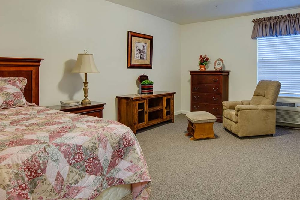 Spacious single bedroom at Foxberry Terrace Senior Living in Webb City, Missouri