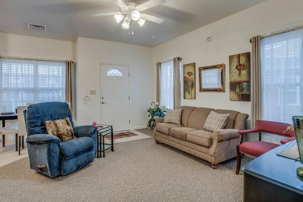 Apartment living room at Foxberry Terrace Senior Living in Webb City, Missouri