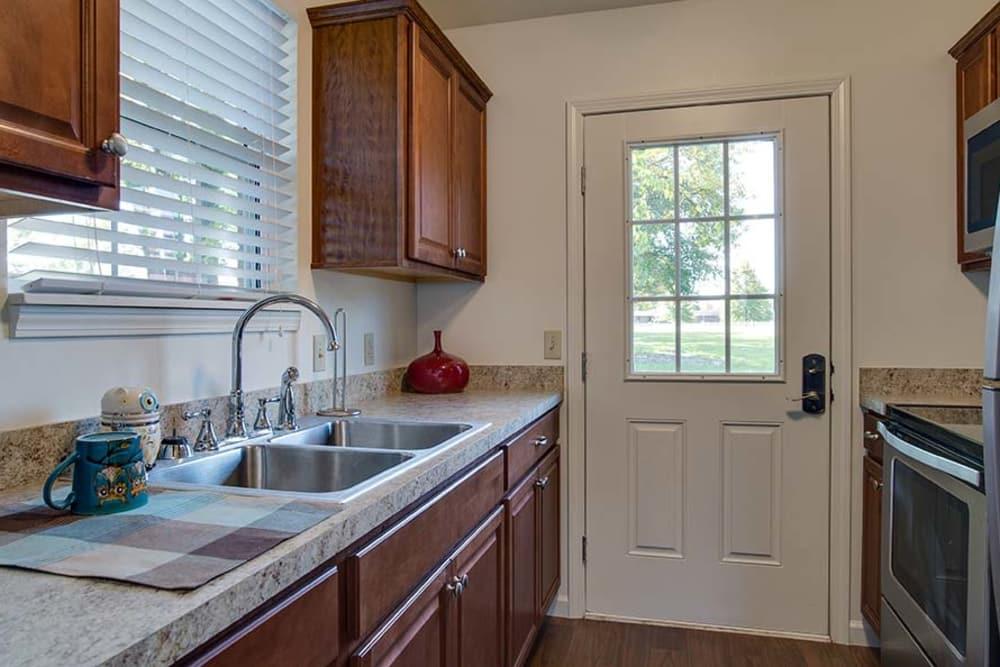 Modern kitchen at Carrington Place Senior Living in Pittsburg, Kansas