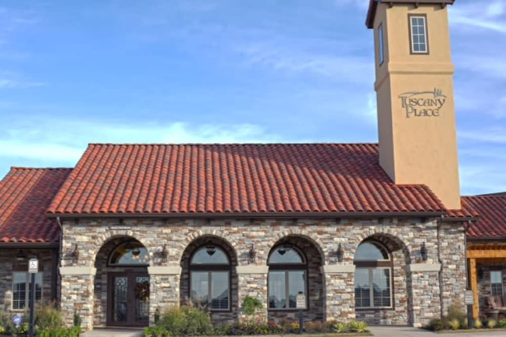 Exterior of Tuscany Place's clubhouse in Lubbock, Texas