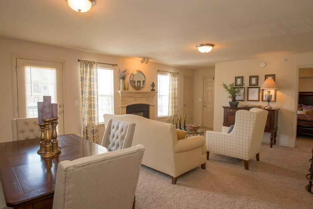 Bright living area at Villas at Stonebridge in Edmond, Oklahoma