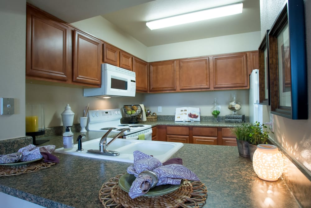 Fully equipped kitchen at Villas at Stonebridge in Edmond, Oklahoma