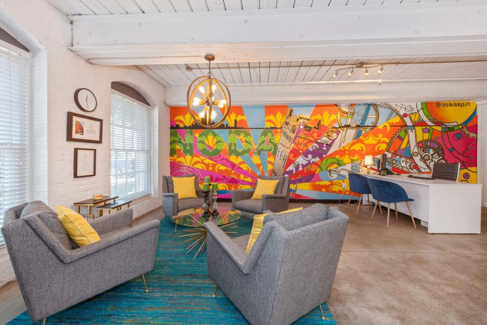 Model living room at Highland Mill Lofts in Charlotte, North Carolina