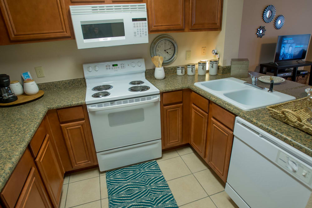 Beautiful kitchen at Villas of Waterford Apartments in Wichita, Kansas