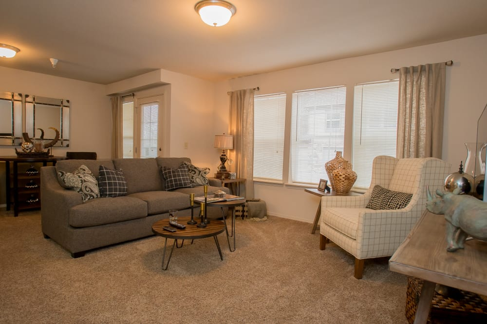 Living area at Villas of Waterford Apartments in Wichita, Kansas