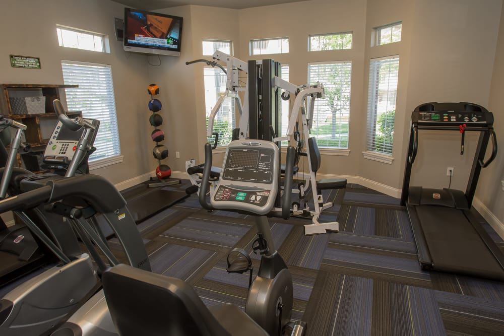 Resident fitness center at Villas of Waterford Apartments in Wichita, Kansas