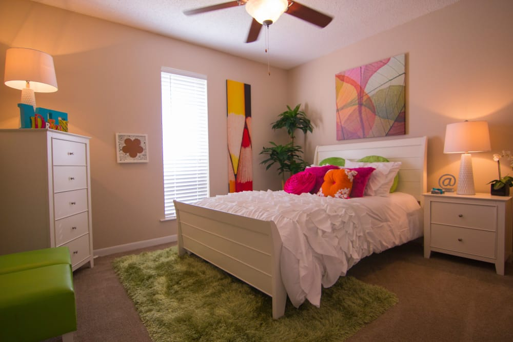 Bright bedroom at The Palm on South Padre in Corpus Christi, Texas