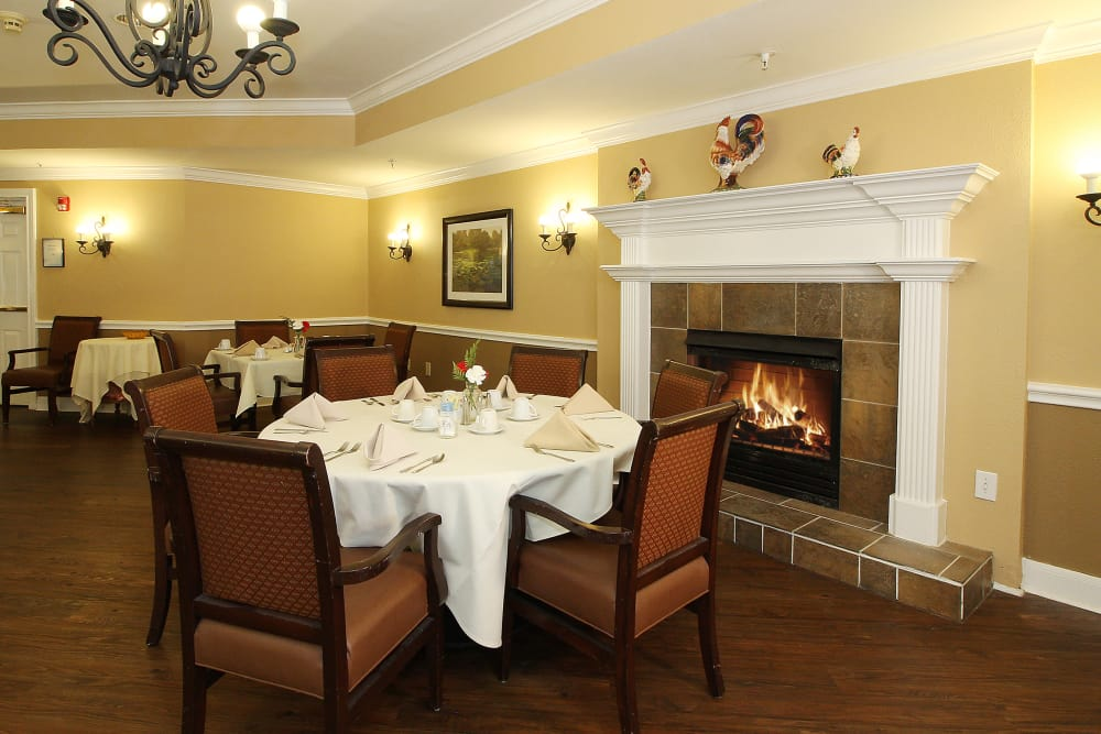 Fire place in our dining room at Reunion Court of Kingwood in Kingwood, Texas