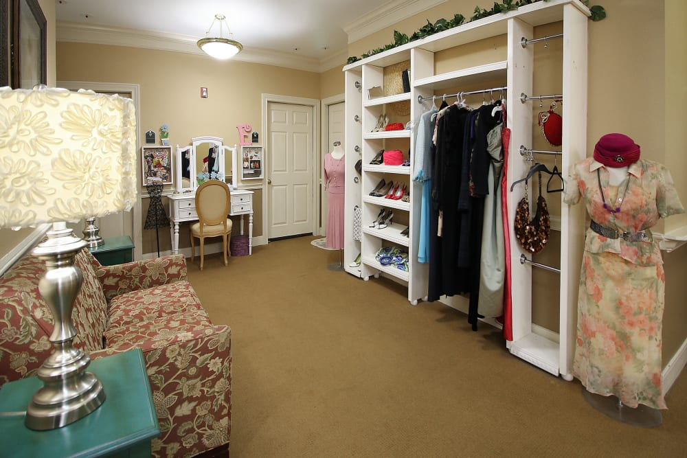 Closet in our model rooms at Reunion Court of Kingwood in Kingwood, Texas