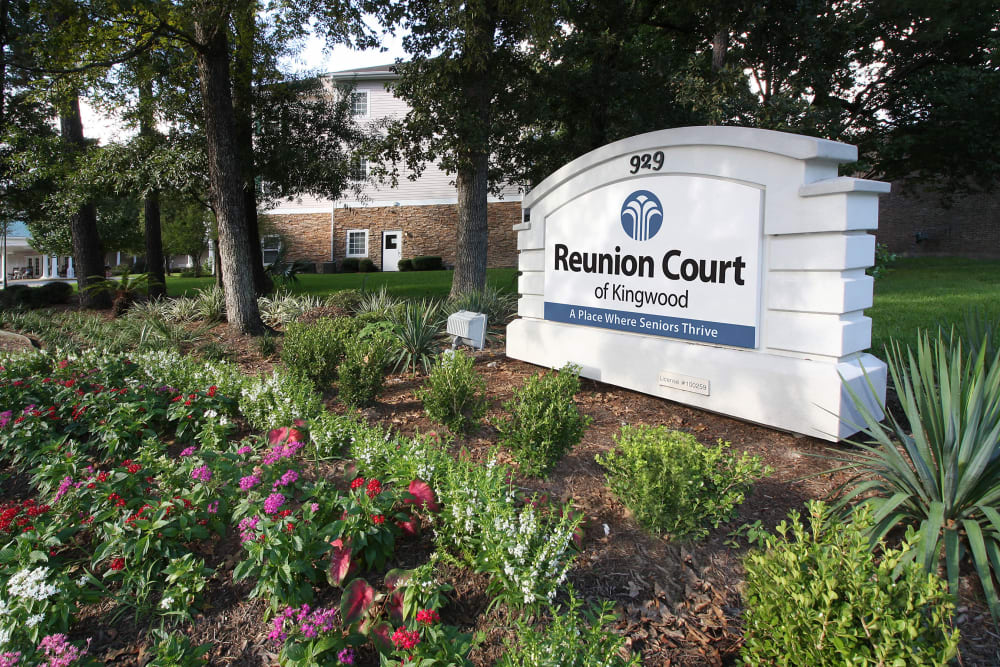 Main sign at Reunion Court of Kingwood in Kingwood, Texas