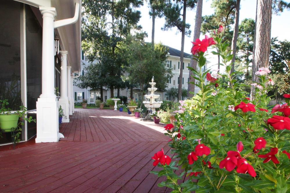 Beautiful garden surrounding Reunion Court of Kingwood in Kingwood, Texas