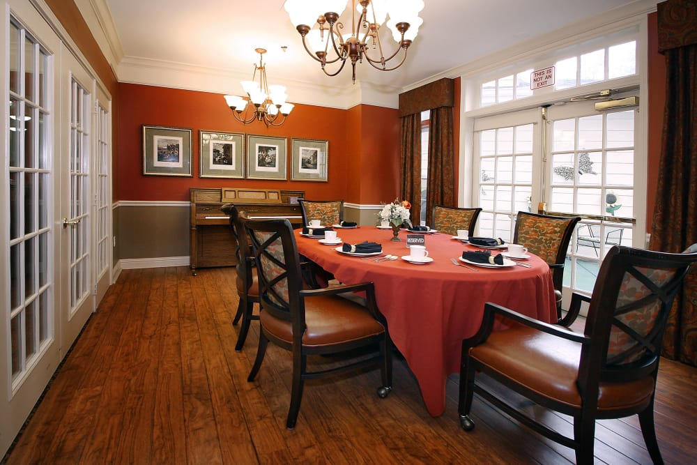 Dining table for our residents at Reunion Court of The Woodlands in The Woodlands, Texas