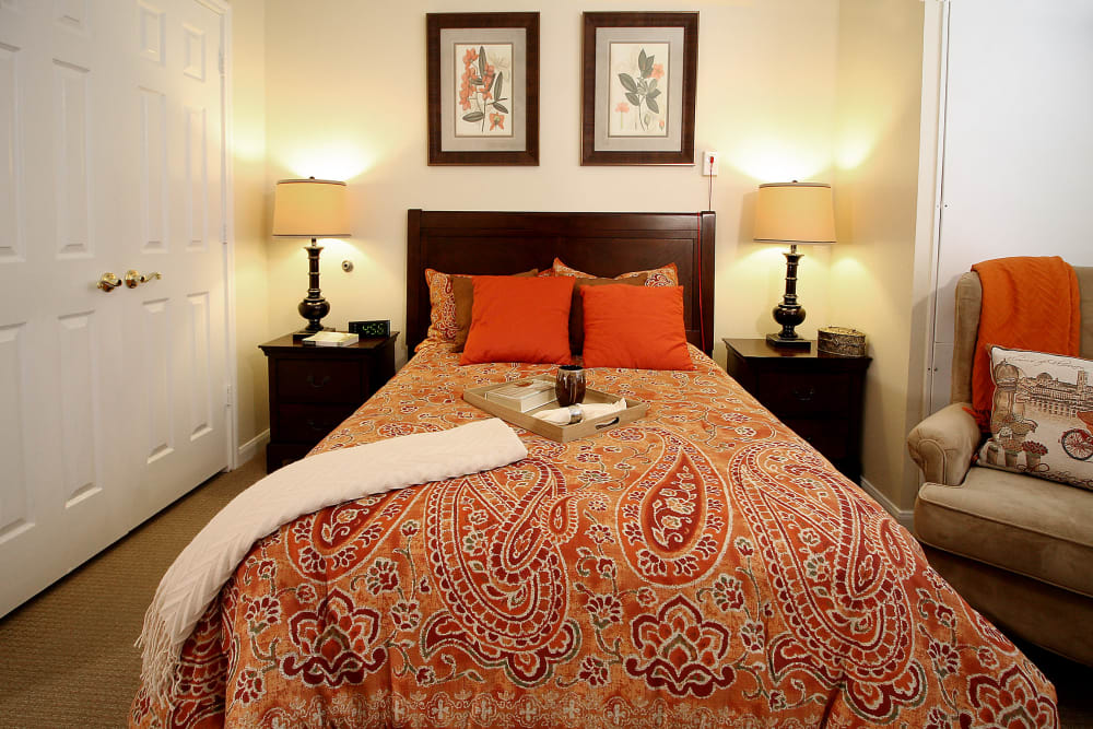 Bed in our models at Reunion Court of The Woodlands in The Woodlands, Texas