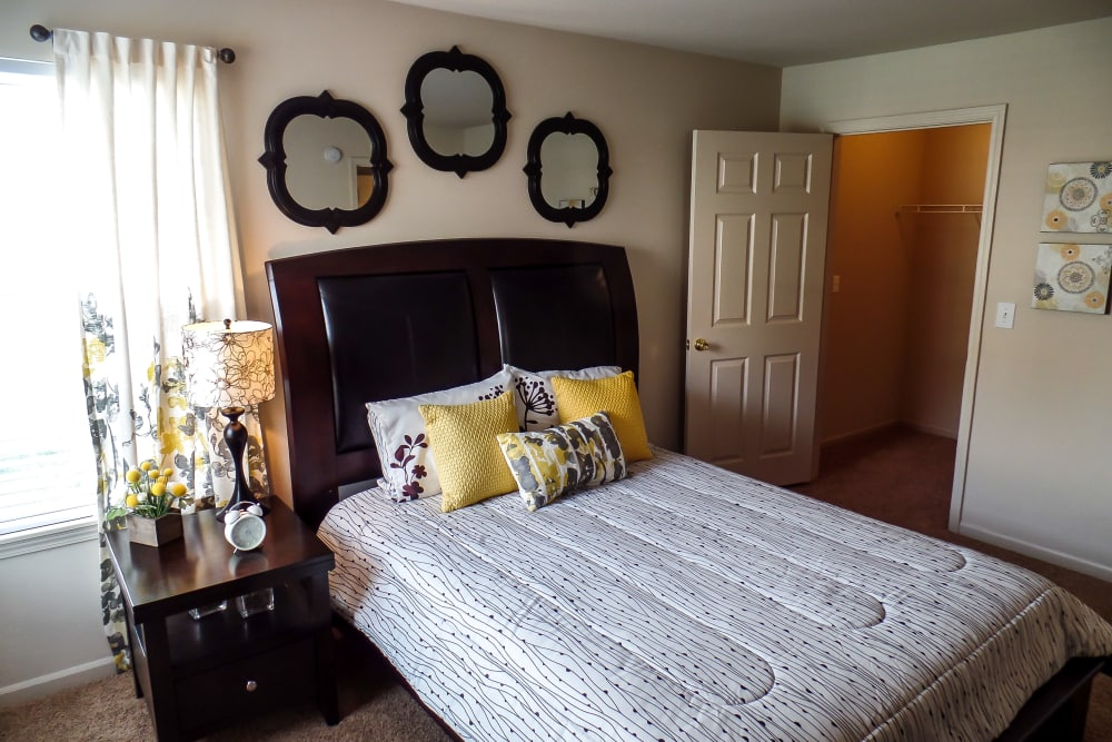 Well-lit bedroom at Winchester Apartments in Amarillo, Texas