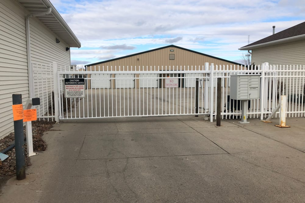 Electronic gate securing units at Five Star Storage in Fargo, North Dakota