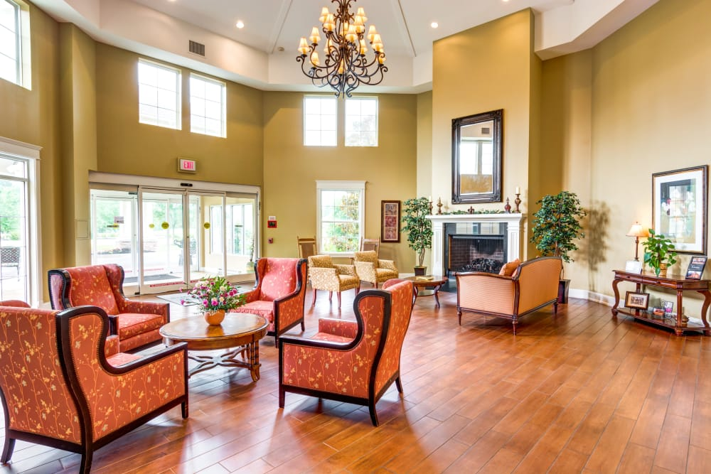 Indoor lounge area at Symphony at Valley Farms in Louisville, Kentucky