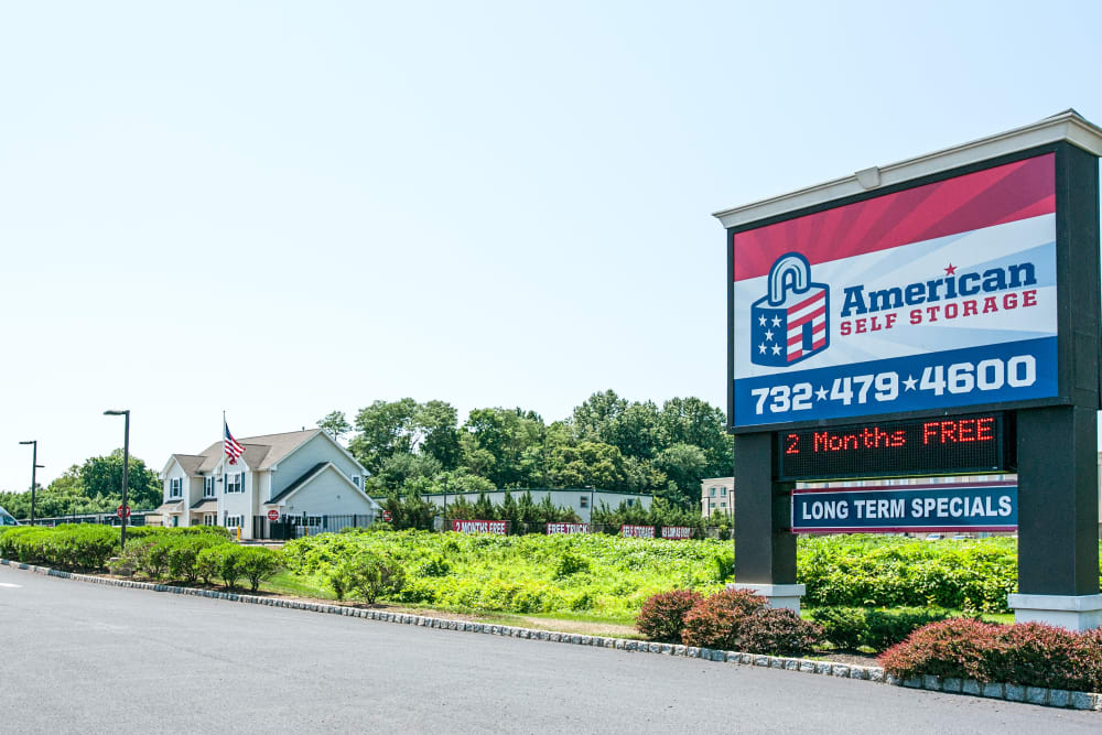 Welcome sign at American Self Storage in West Long Branch, New Jersey