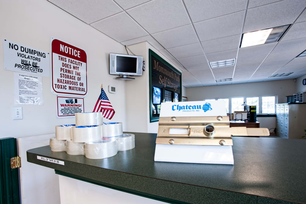 Leasing desk at American Self Storage in West Long Branch, New Jersey