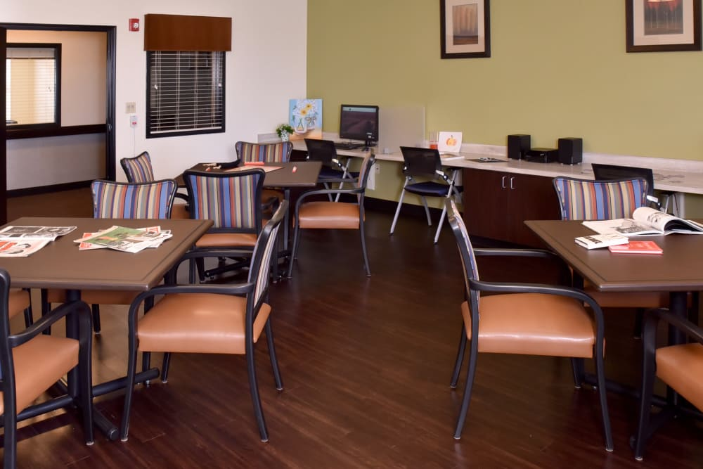 Community activity room with computer access at North River Health Campus in Evansville, Indiana
