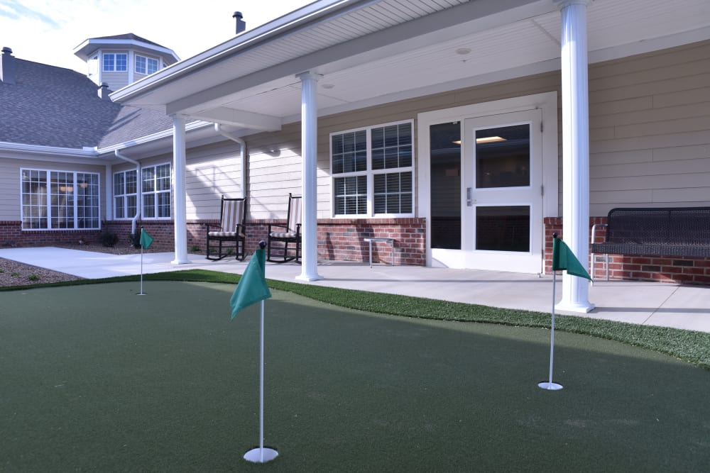 Mini golf course for residents at North River Health Campus in Evansville, Indiana