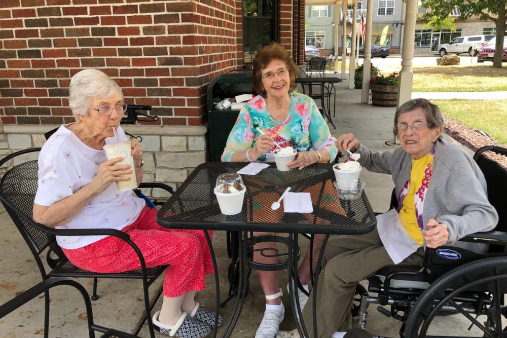 Residents eating ice cream in the sunshine at The Lakes of Sylvania in Sylvania, Ohio