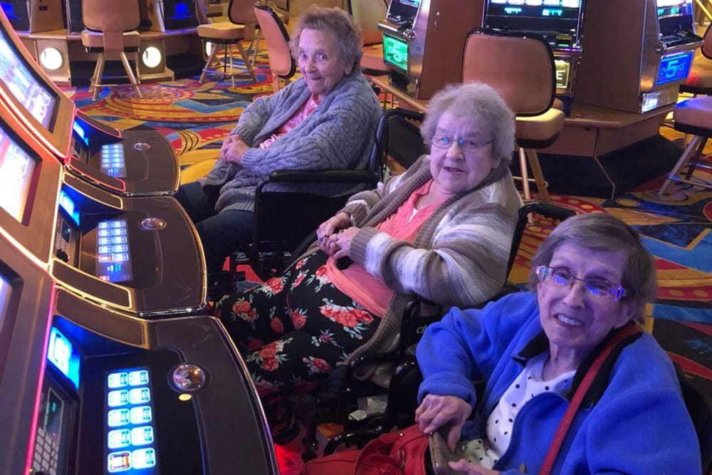 A group of residents form The Lakes of Sylvania in Sylvania, Ohio on a trip to the casino