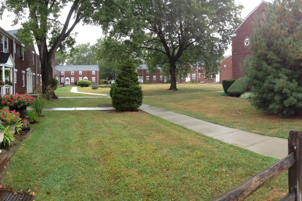 Walking paths at Warner Village Apartments in Trenton, New Jersey