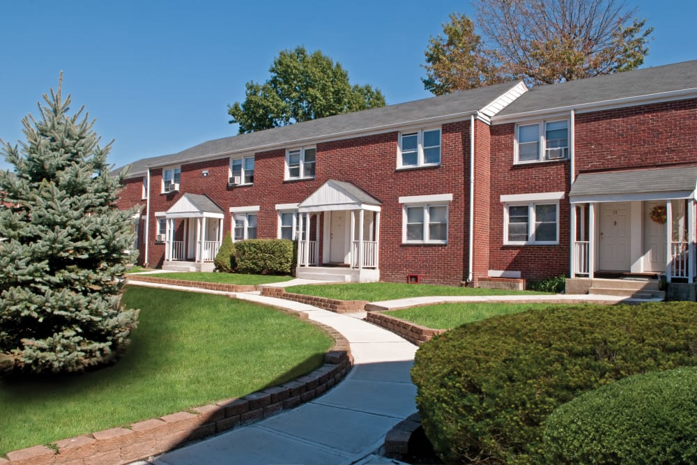 Exterior view of the Warner Village Apartments community in Trenton, New Jersey
