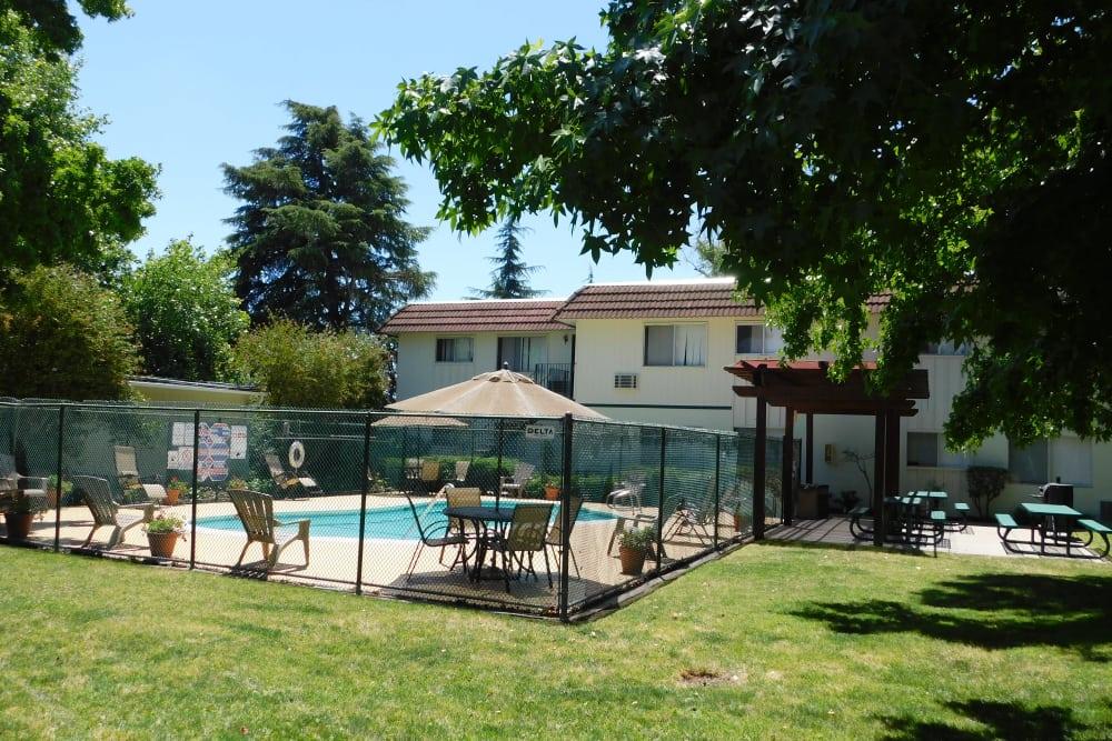 Modern swimming pool at Buchanan Gardens in Antioch, California