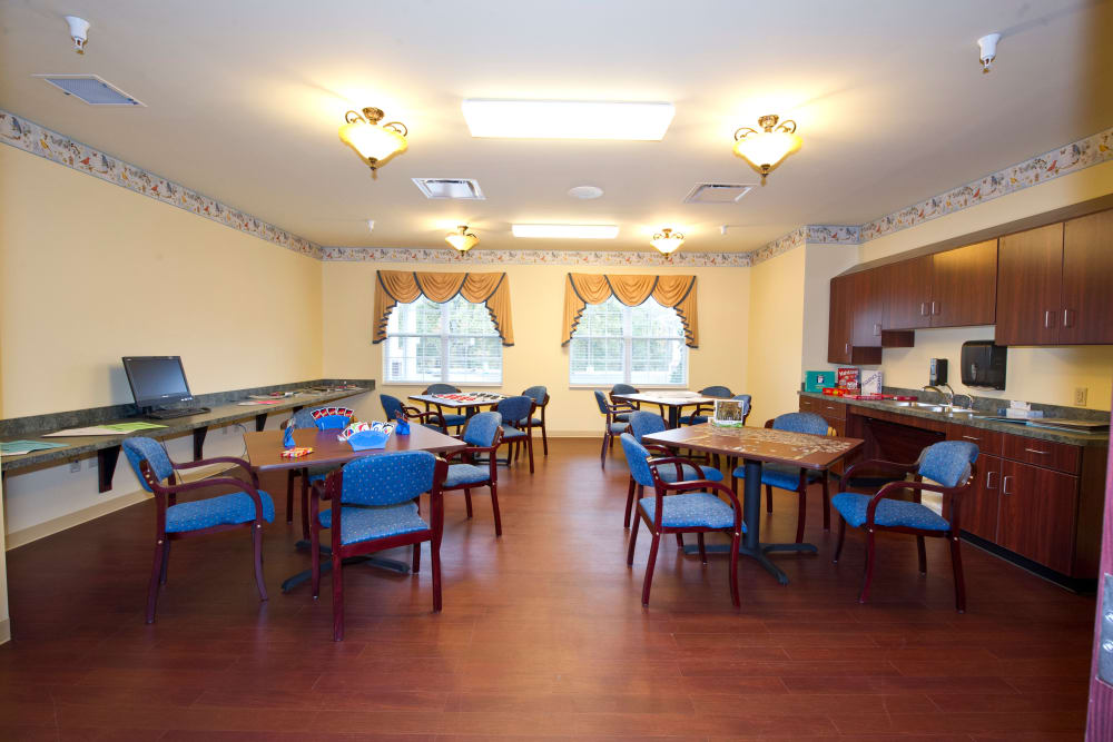 Game room for residents at The Villages at Oak Ridge in Washington, Indiana