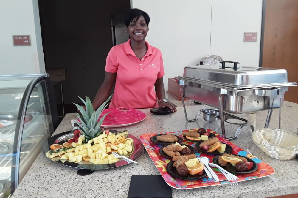 Chef prepared food for residents at Arlington Place Health Campus in Indianapolis, Indiana