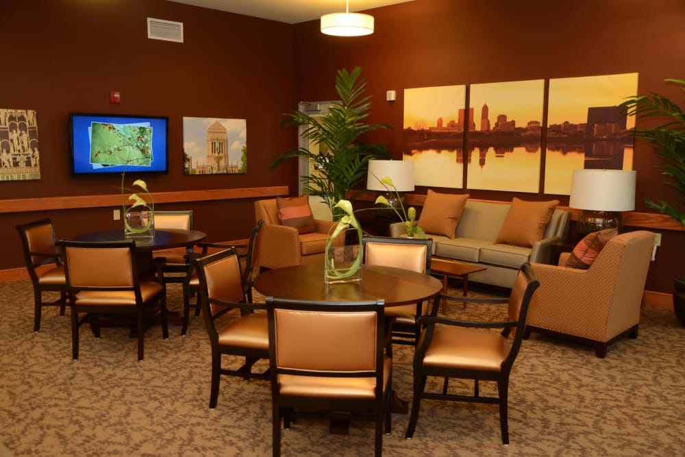 A community lounge for residents at Arlington Place Health Campus in Indianapolis, Indiana