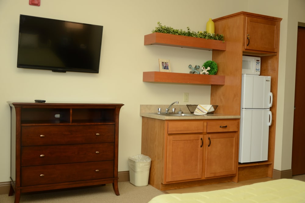 An apartment kitchen at Arlington Place Health Campus in Indianapolis, Indiana