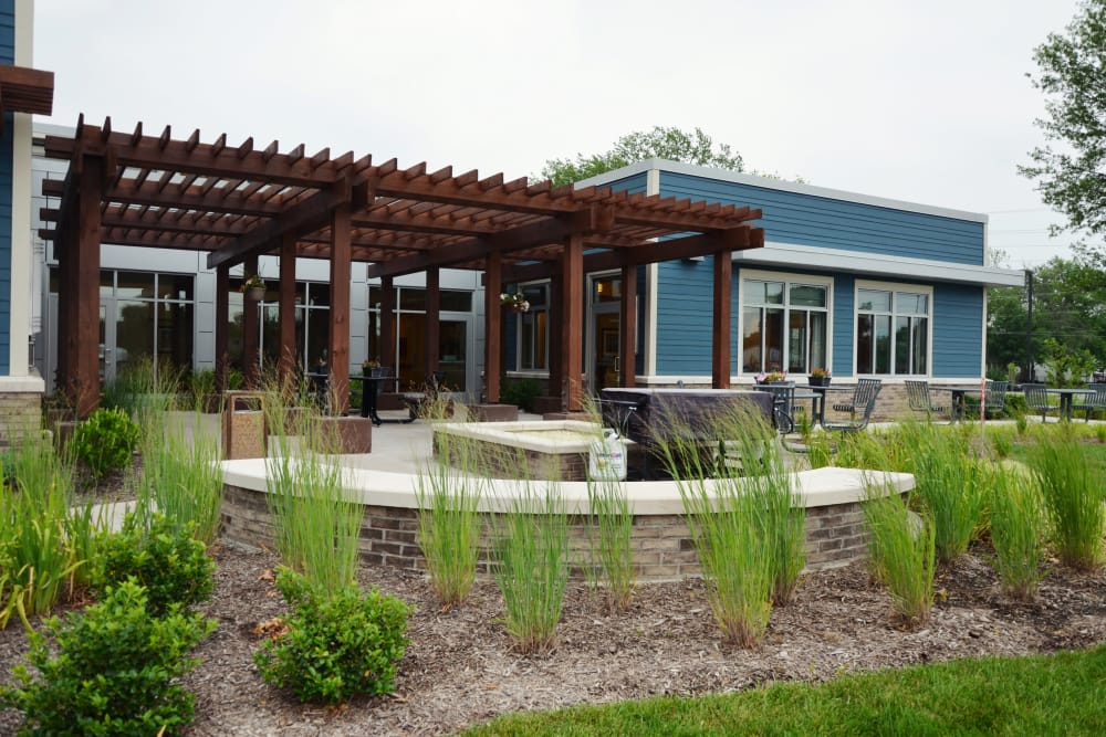 Beautiful outdoor landscaping at Arlington Place Health Campus in Indianapolis, Indiana