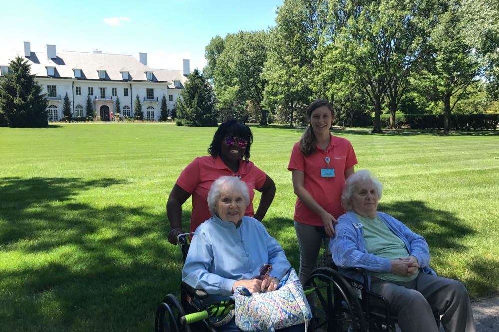 Residents and caretakers from Clearvista Lake Health Campus in Indianapolis, Indiana on a stroll