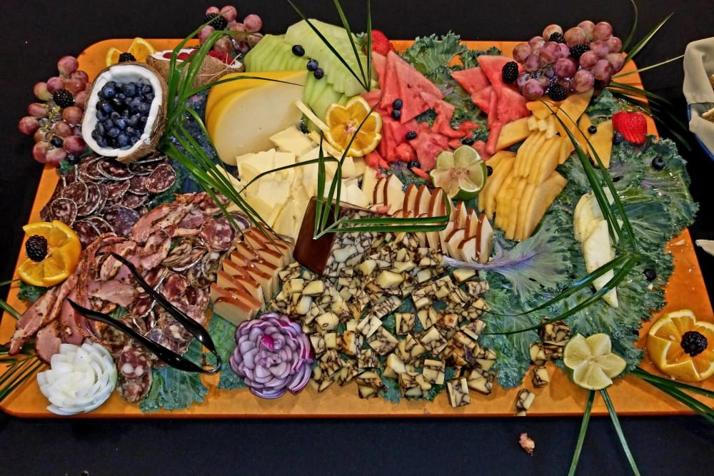 An elegant tray of food at Clearvista Lake Health Campus in Indianapolis, Indiana