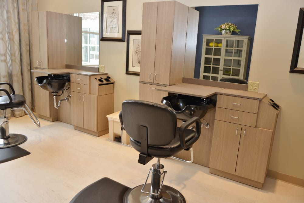 Onsite hair salon for residents at Clearvista Lake Health Campus in Indianapolis, Indiana