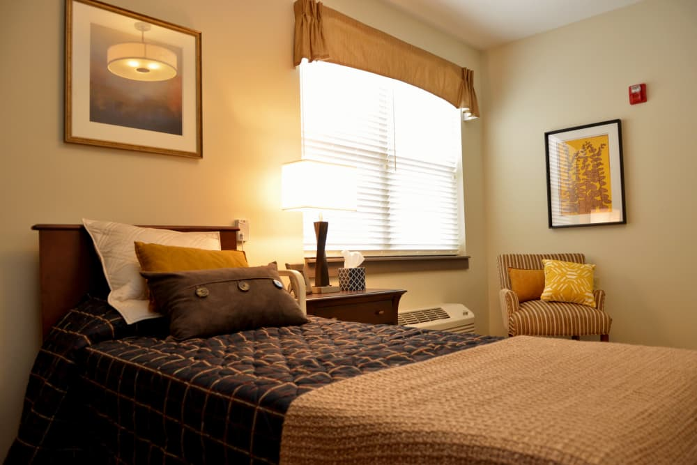 Cozy bedroom at Clearvista Lake Health Campus in Indianapolis, Indiana