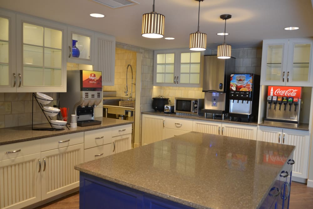 Community kitchen for residents at Clearvista Lake Health Campus in Indianapolis, Indiana
