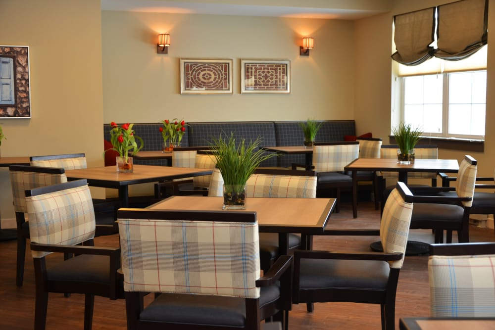 Community dining room at Clearvista Lake Health Campus in Indianapolis, Indiana