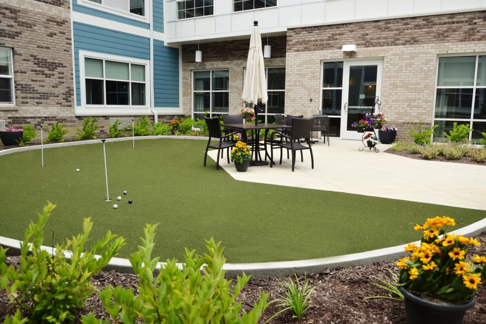 Mini golf course for residents at Clearvista Lake Health Campus in Indianapolis, Indiana
